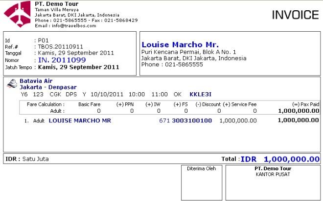 Contoh Invoice Pembayaran