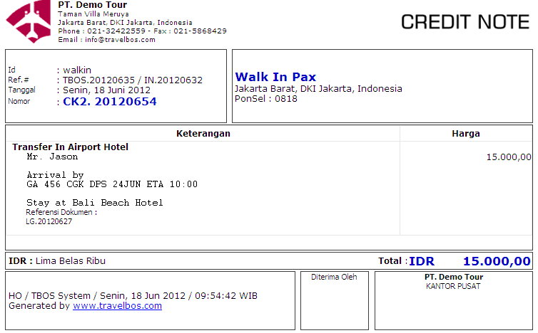 contoh credit note