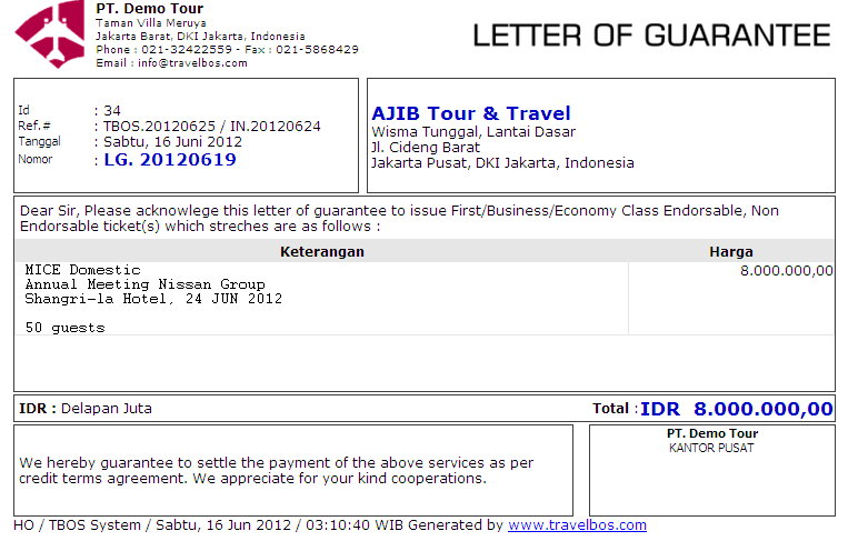 Travelbos front office aplikasi travel agent program travel online contoh letter of guarantee thecheapjerseys Images