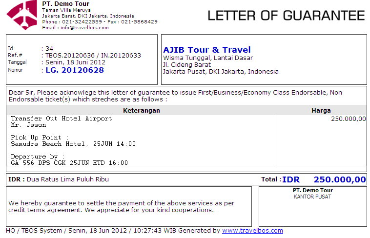 Pengertian Guarantee Letter Hotel  Travelbos Front Office Aplikasi