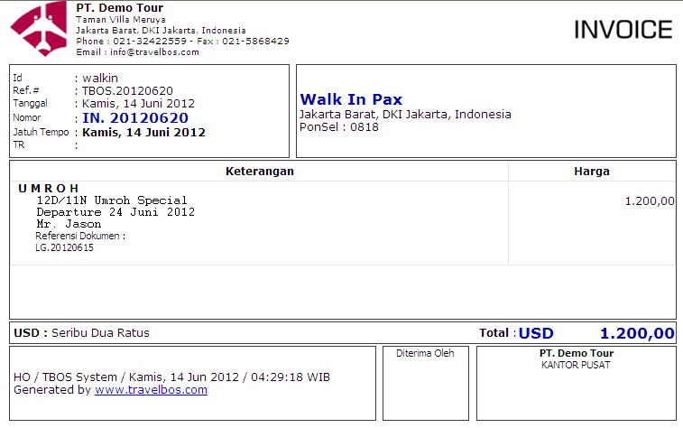 TravelBOS Front Office Aplikasi Travel Agent Program Travel Online - Invoice contoh